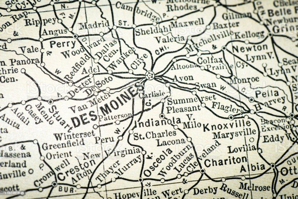 Antique Usa Map Closeup Detail Des Moines Iowa Stock ...
