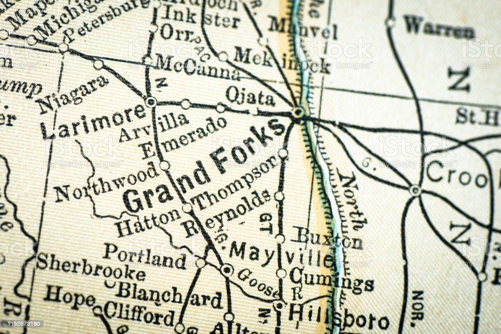 Antique Usa Map Closeup Detail Grand Forks North Dakota ...