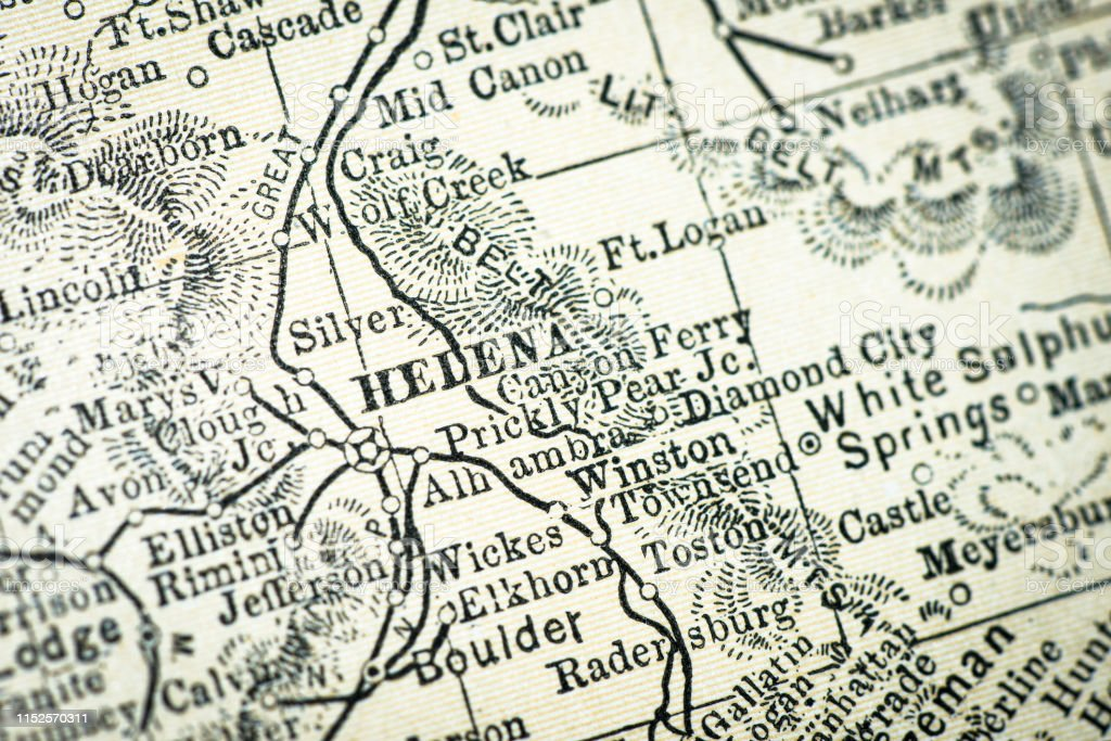 Antique Usa Map Closeup Detail Helena Montana Stock ...