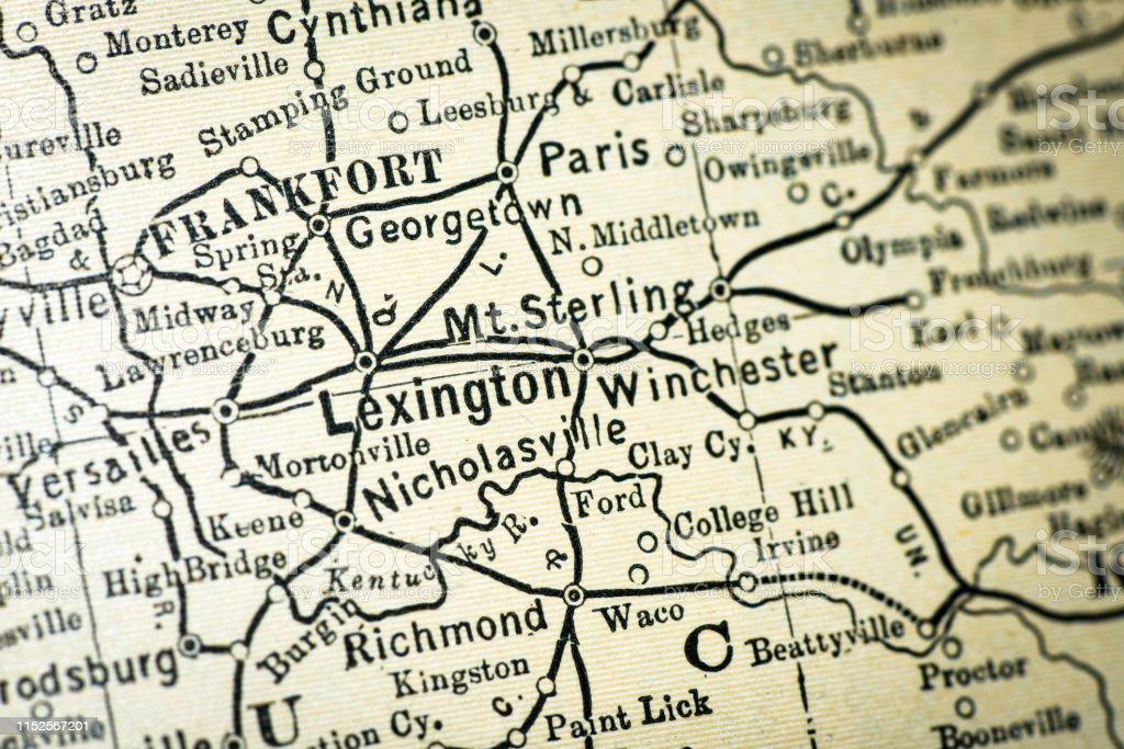 Antique Usa Map Closeup Detail Lexington Kentucky Stock ...