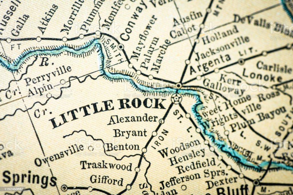 Antike Usakarte Aus Nahaufnahme Little Rock Arkansas Stock ...