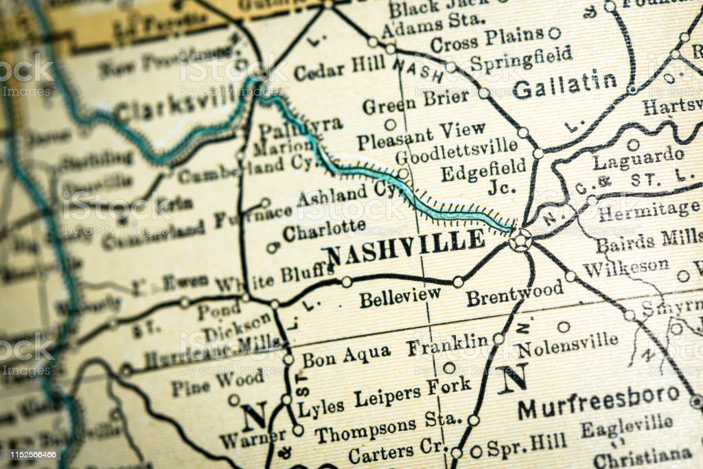 Antique Usa Map Closeup Detail Nashville Tennessee Stock ...