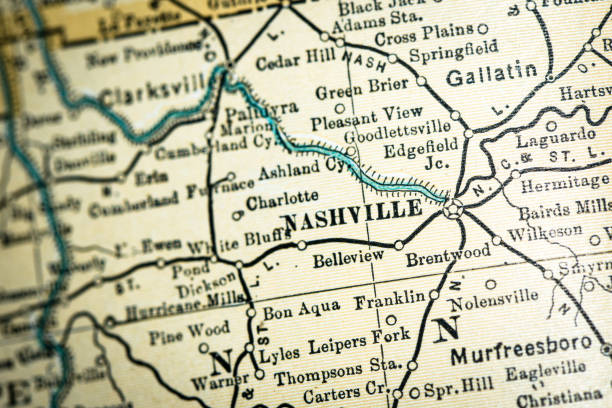 Antique USA map close-up detail: Nashville, Tennessee vector art illustration