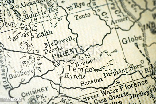 Antique USA map close-up detail: Phoenix, Arizona