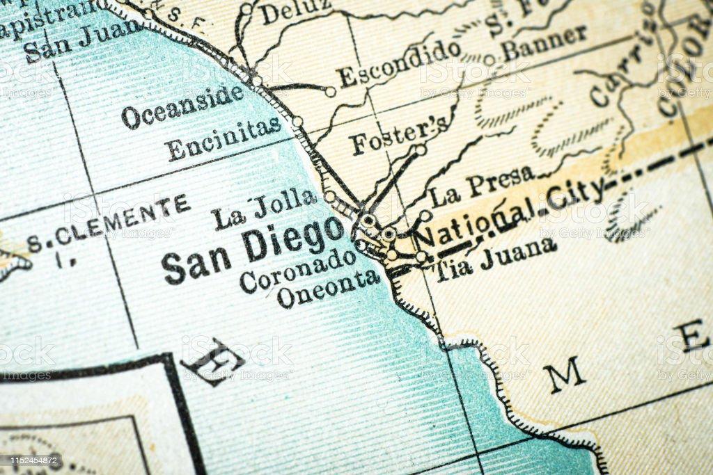 Antique Usa Map Closeup Detail San Diego California Stock ...