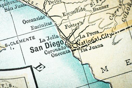 Antique USA map close-up detail: San Diego, California
