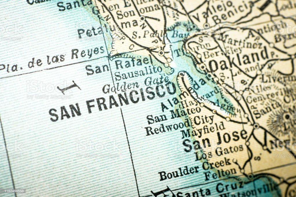 Antike Usa Maps Detail San Francisco Kalifornien Stock ...