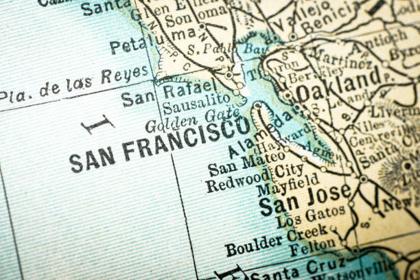 Antique USA map close-up detail: San Francisco, California Antique USA map close-up detail: San Francisco, California oakland stock illustrations