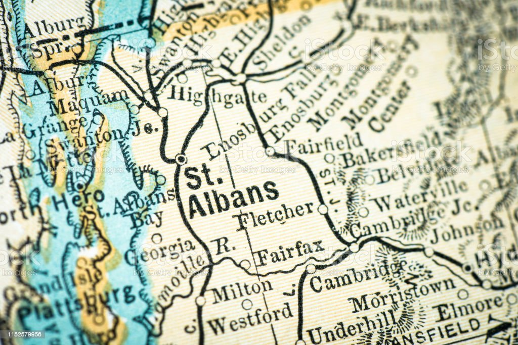 Antique Usa Map Closeup Detail St Albans Vermont Stock Illustration ...