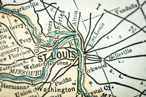 antique usa map close-up detail: st louis, missouri - st louis stock illustrations