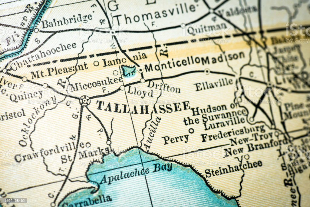 Antique Usa Map Closeup Detail Tallahassee Florida Stock Vector Art ...