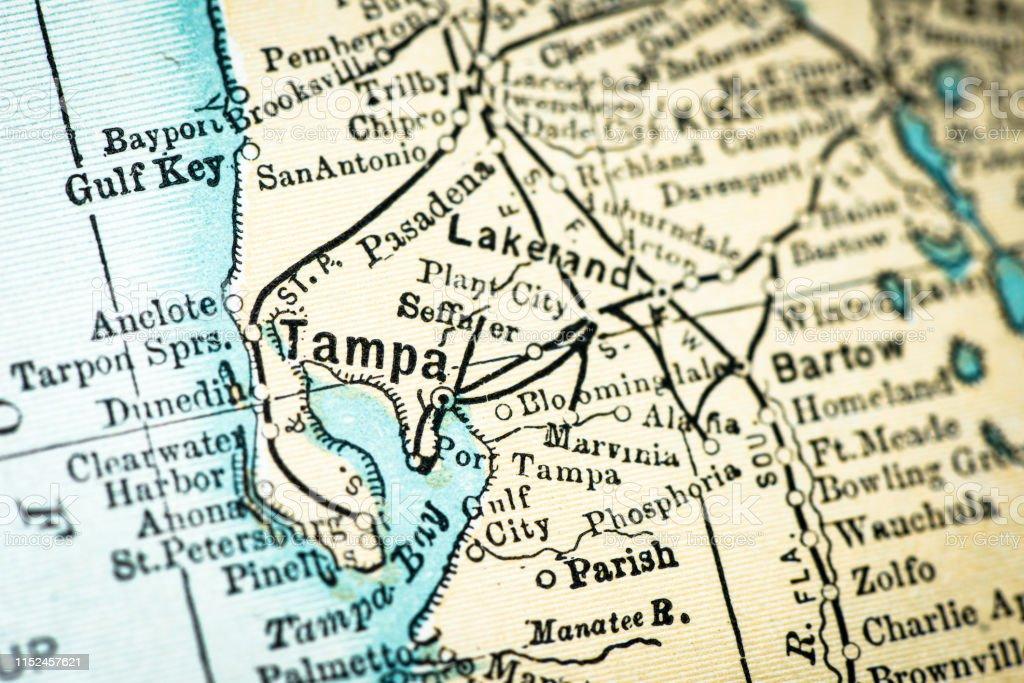 Antique Usa Map Closeup Detail Tampa Florida Stock ...