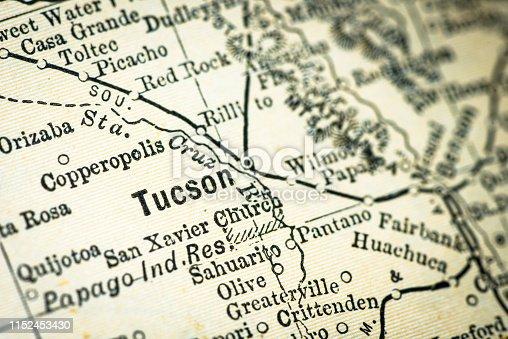 Antique USA map close-up detail: Tucson, Arizona
