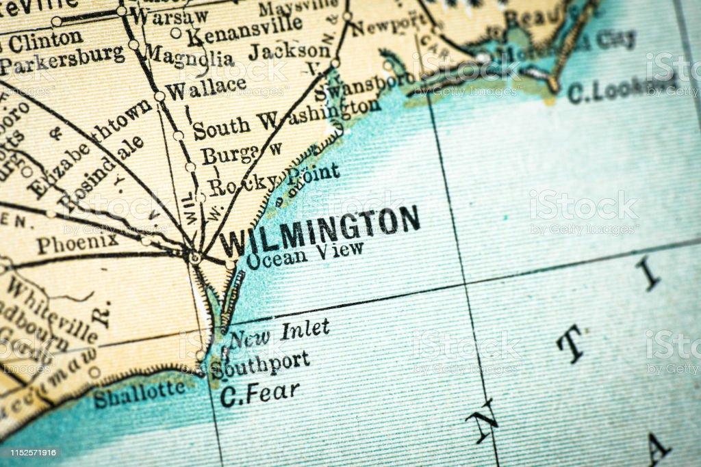 Antique Usa Map Closeup Detail Wilmington North Carolina Stock ...