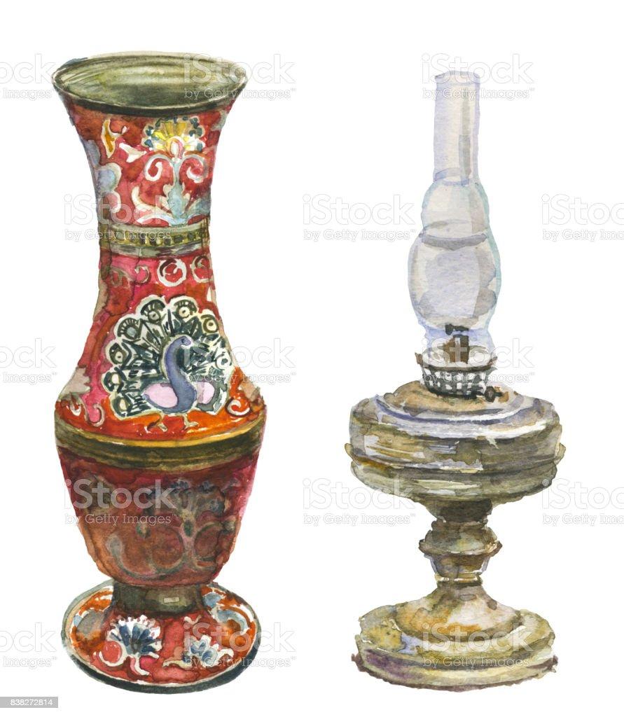 Antique Vase And Kerosene Lamp Stock Illustration Download Image Now Istock