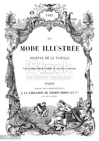 Vintage etching print with french text