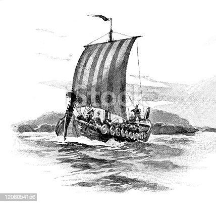 istock Antique viking ship 1206054156