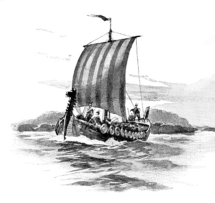 Antique viking ship