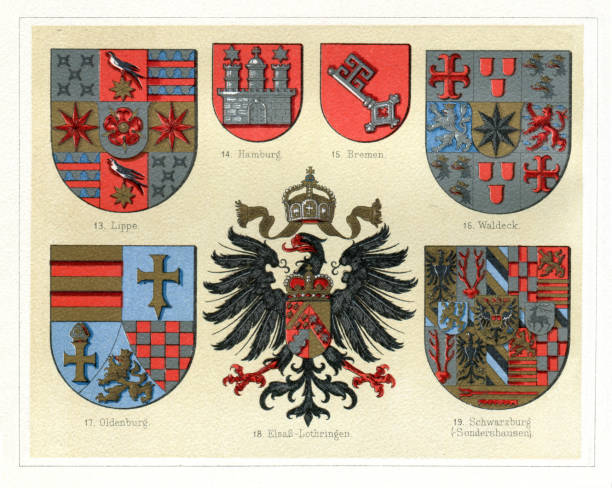 """Antique vintage badges from Germany 1897 Antique badges from Germany out of use Original edition from my own archives Source : """"Meyers Konversations-Lexikon"""" 1897 german culture stock illustrations"""