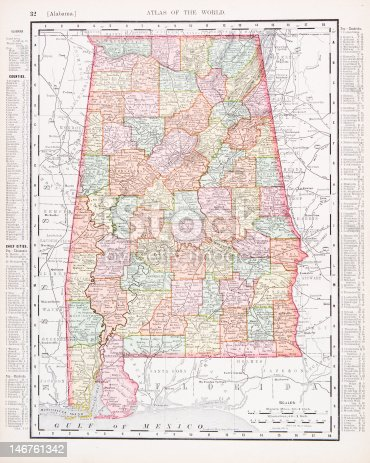 Vintage map of the state of Alabama, U,S,  - See lightbox for more