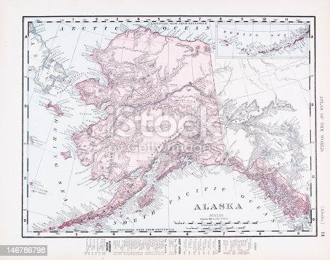 Vintage map of the state of Alaska, United States - See lightbox
