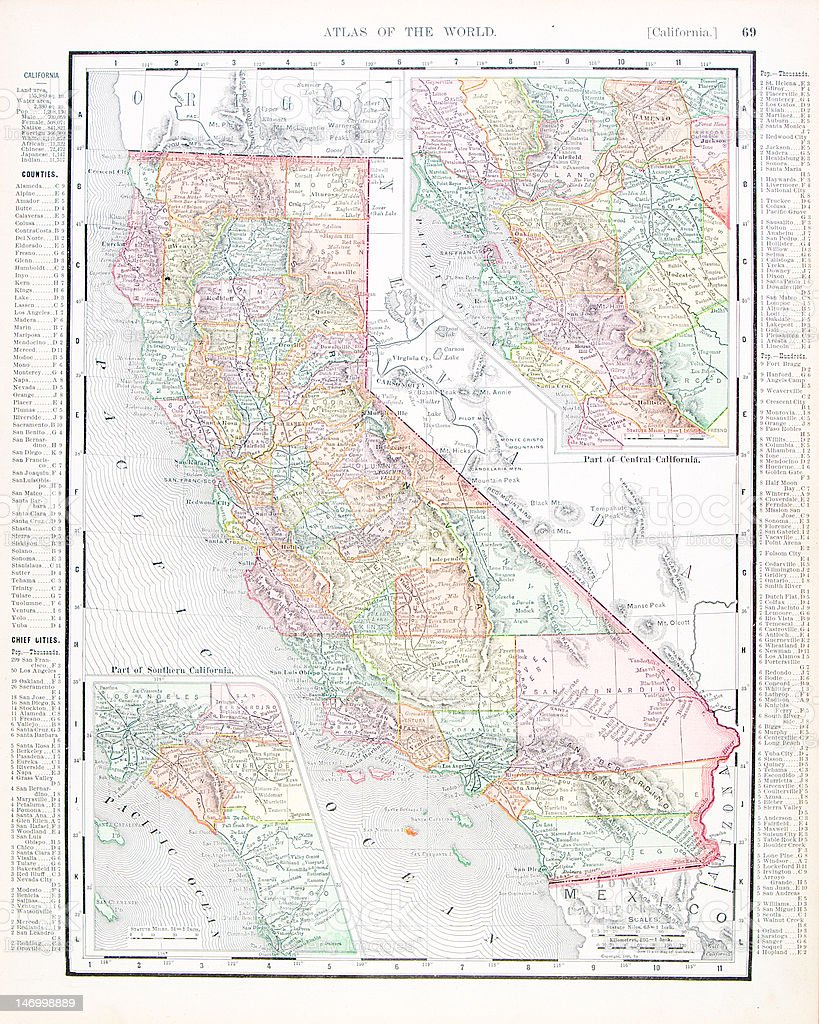 Antique Vintage Color Map of California, USA vector art illustration
