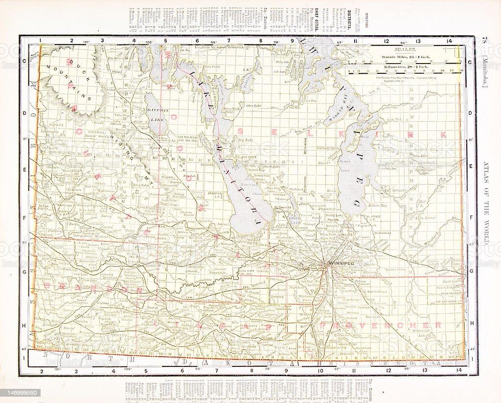Antique Vintage Color Map of Manitoba, Canada royalty-free stock vector art