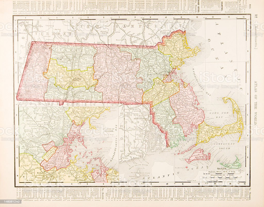 Antique Vintage Color Map of Massachusetts, United States vector art illustration