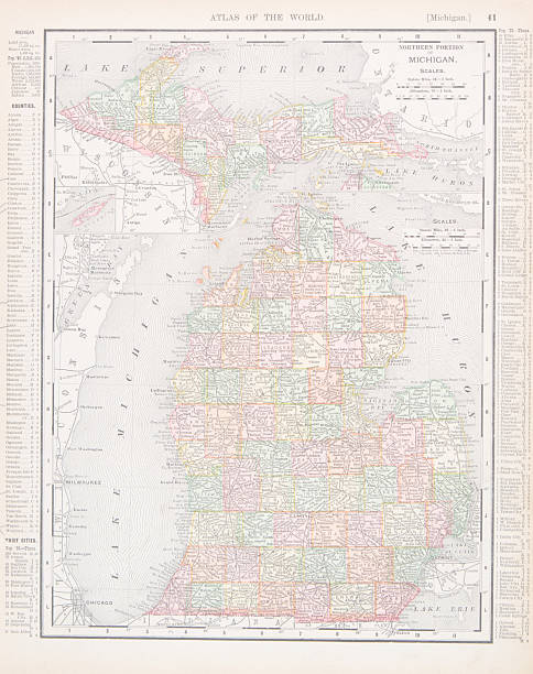 antique vintage color map of michigan, usa - lake superior stock illustrations, clip art, cartoons, & icons