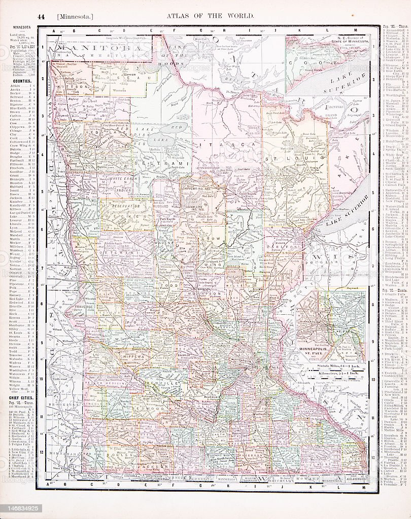 Antique Vintage Color Map of Minnesota, MN, USA vector art illustration