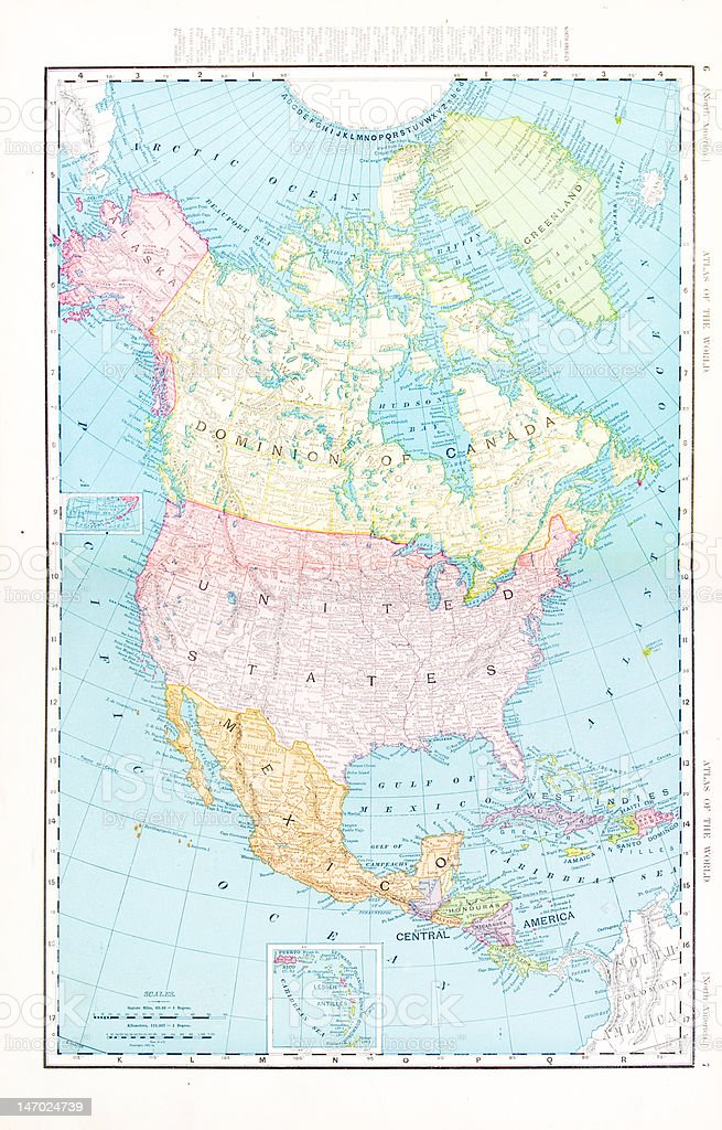 Antique Vintage Color Map Of North America Canada Mexico Usa Stock ...