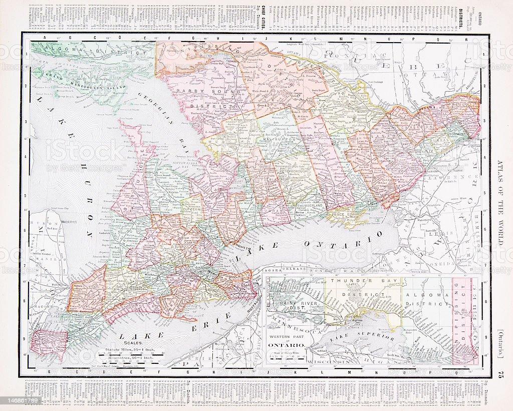 Antique Vintage Color Map of Ontario Province, Canada vector art illustration