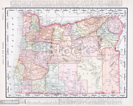 Vintage map of the state of Oregon, United States  - See lightbox for more
