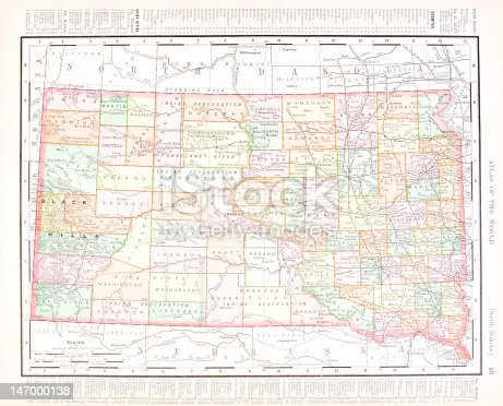 Vintage map of the state of South Dakota, USA.   - See lightbox for more