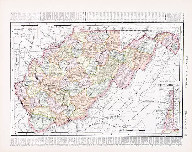 West Virginia Map Clip Art Vector Images Illustrations IStock - Virginia on map of usa