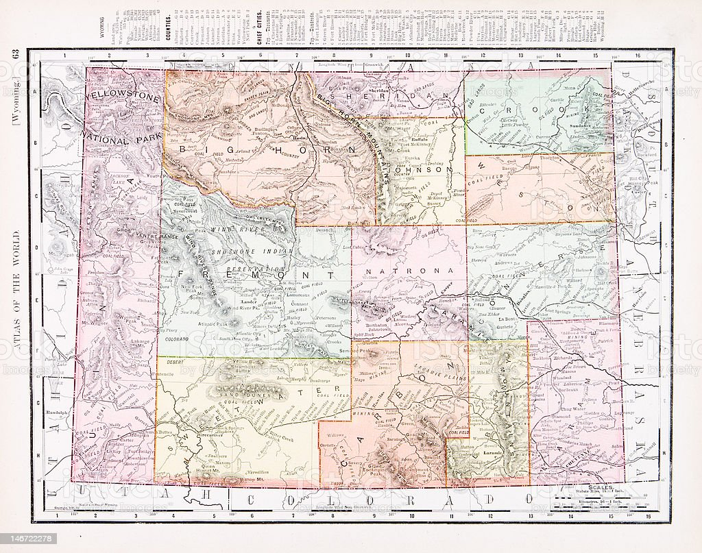 Antique Vintage Color Map Of Wyoming Usa Stock Illustration