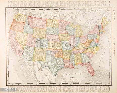 Color map of the US from 1900.  - See lightbox for more