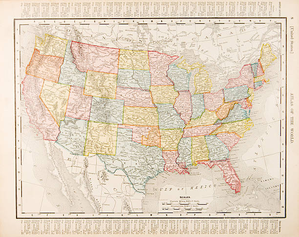 Antique Vintage Color Map United States of America, USA Color map of the US from 1900.  - See lightbox for more 20th century stock illustrations