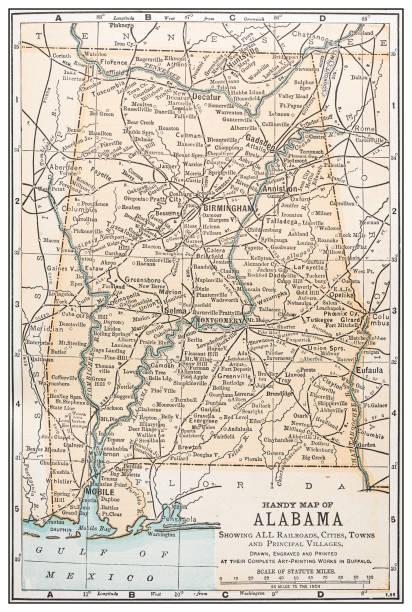 antique vintage retro usa map: alabama - alabama stock illustrations