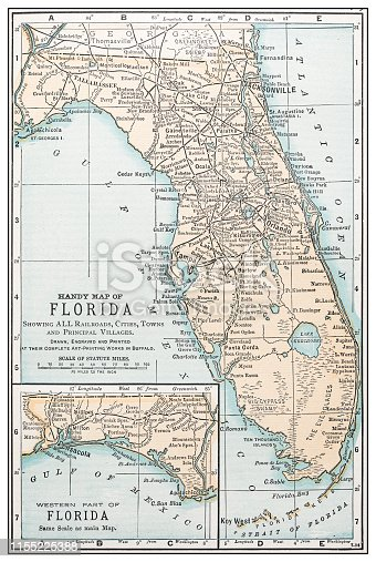 Antique vintage retro USA map: Florida