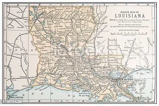 Antique vintage retro USA map: Louisiana