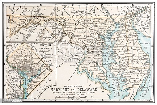 Antique vintage retro USA map: Maryland, Delaware, Washington DC