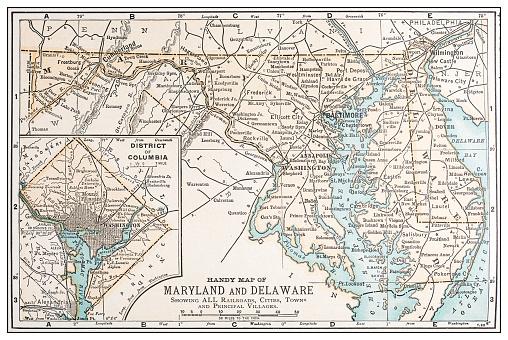 Antique Vintage Retro Usa Map Maryland Delaware Washington ...