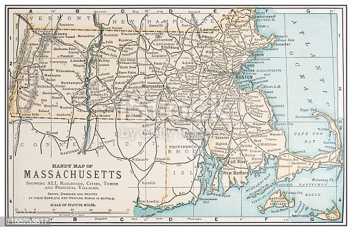Antique vintage retro USA map: Massachusetts