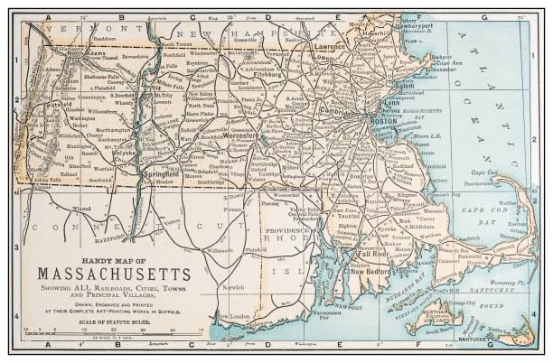 Antique vintage retro USA map: Massachusetts vector art illustration