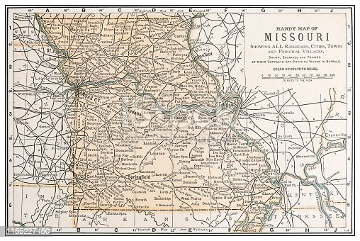 Antique vintage retro USA map: Missouri