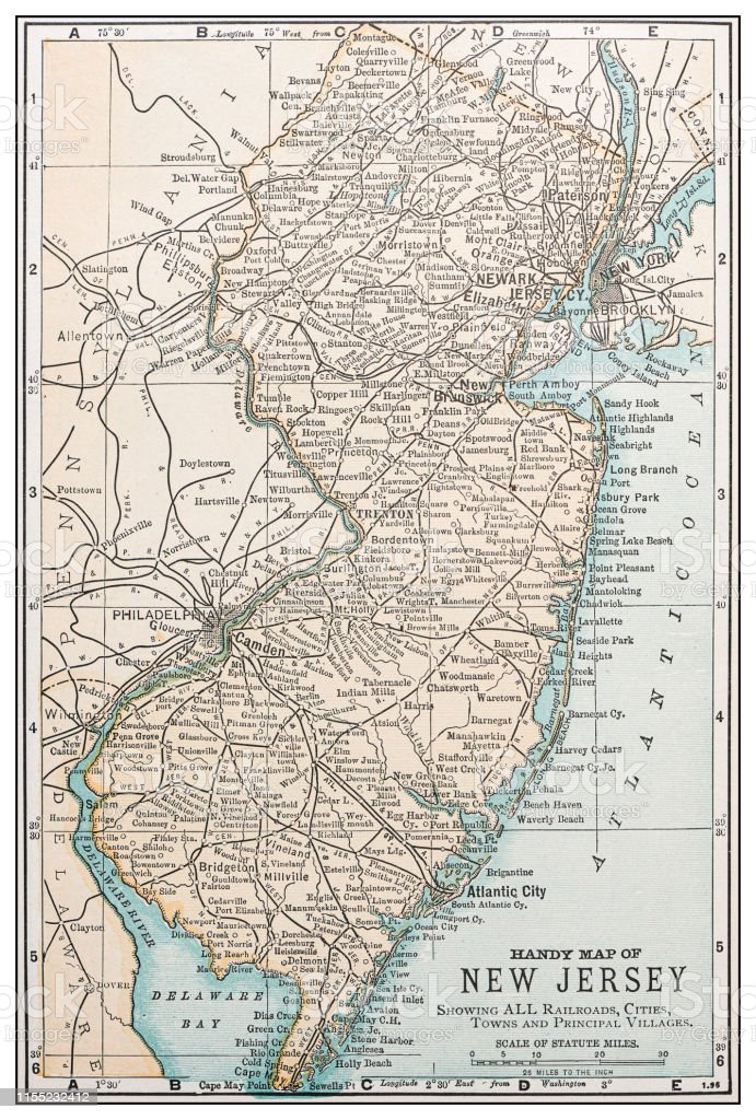 Antiquitätenretro Usa Map New Jersey Stock Vr Art und mehr ... on