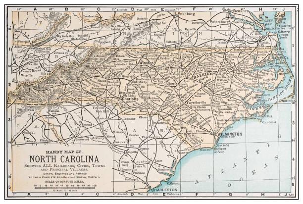 Antique vintage retro USA map: North Carolina vector art illustration