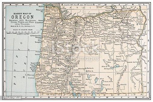 Antique vintage retro USA map: Oregon