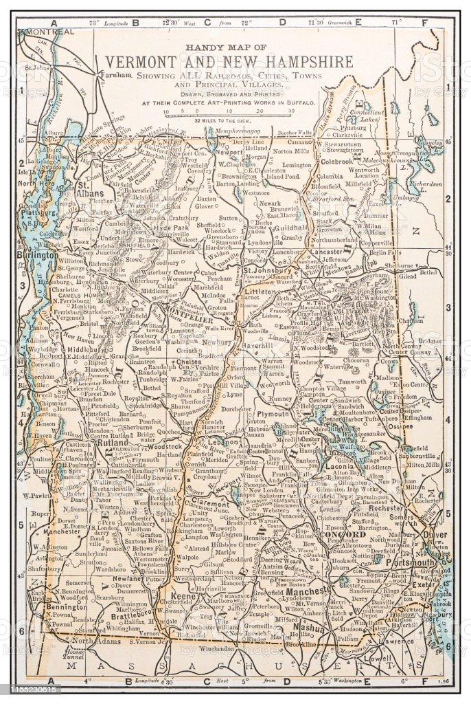 Antique Vintage Retro Usa Map Vermont New Hampshire Stock ...